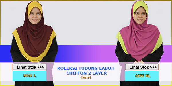 Tudung Twist Chiffon 2 Layer